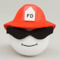 Fireman with Glasses Red Helmet Antenna Ball