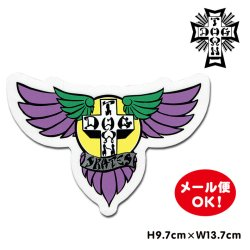 画像1: Dogtown Skateboards Wing Logo Die Cut sticker 6inch (Purple/Yellow) 【メール便OK】