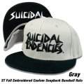 SUICIDAL TENDENCIES ST Full Embroidered Baseball Hats (Gray)